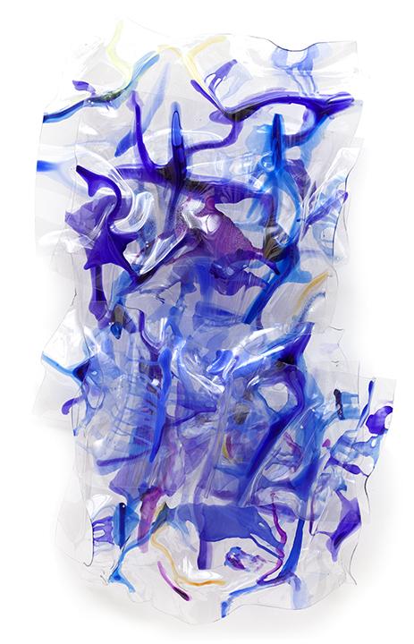 "PURPLE BLUE VECTORS, 2015, Acrylic on Lexan, 61"" x 34""x11.5"""