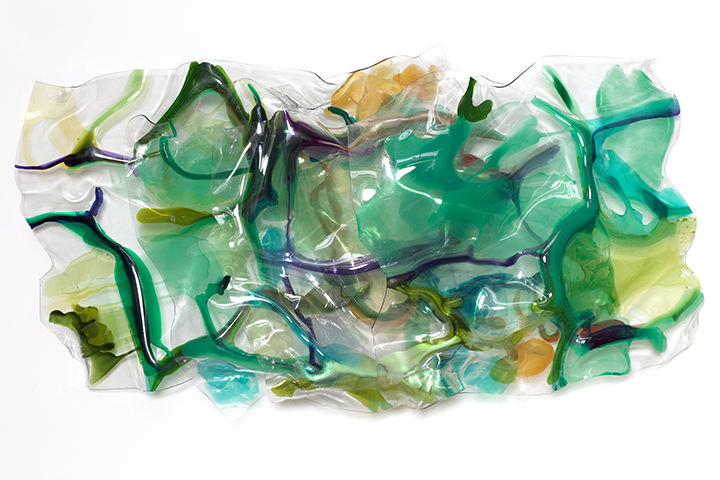 "VERDANT OUTLOOK, 2012, Acrylic on Lexan, 32' x62"" x 10"""