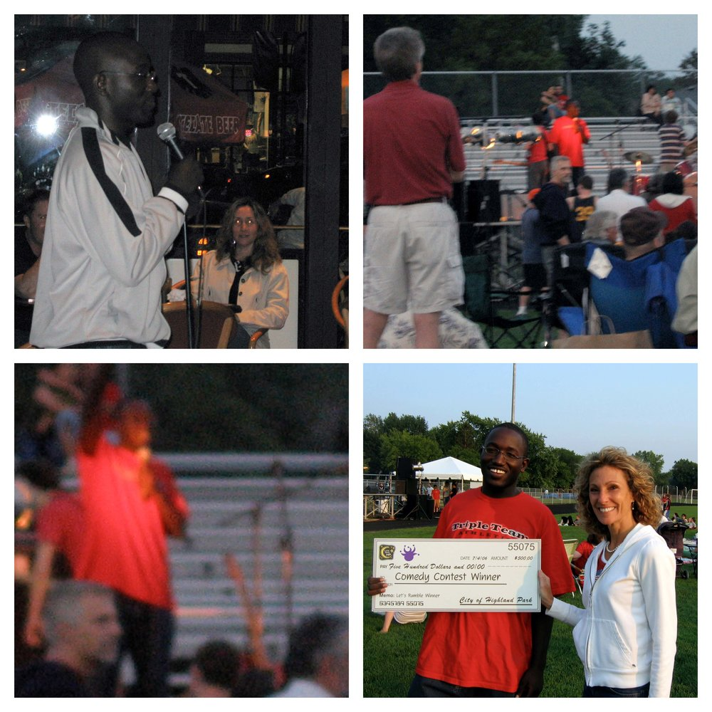Comedian and actor  Hannibal Buress  performs his winning standup set on June 4, 2006 (upper left) and Emcees the 1st Annual Bitter Jester Music Fest on July 4, 2006.