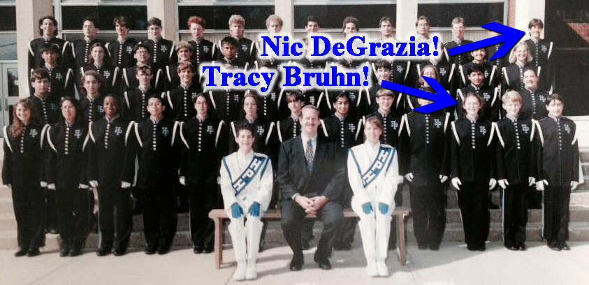 Tracy Bruhn and Bitter Jester Music Festival Founder/Producer Nicolas DeGrazia in marching band together in 1994. Tracy would go on to be Drum Major in 1995 and 1996.