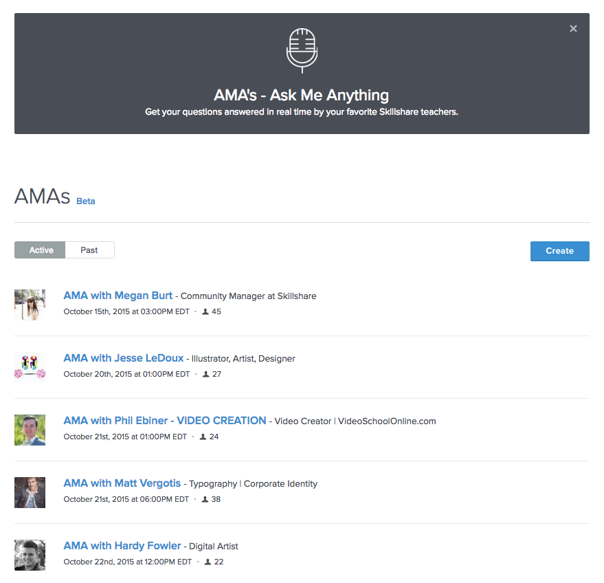 Screenshot of new AMAs section on Skillshare