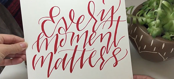 A still from Peggy Dean's  Modern Calligraphy Class