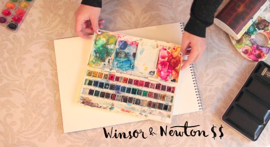 Ana Victoria Calderon shares multiple watercolor sets that range in price, encouraging students to choose what works best for them.