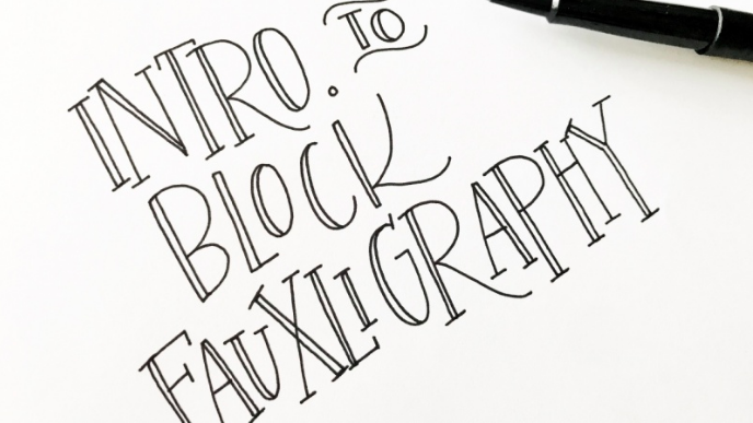 Imitate traditional calligraphy using a regular pencil or pen with  Veronica .