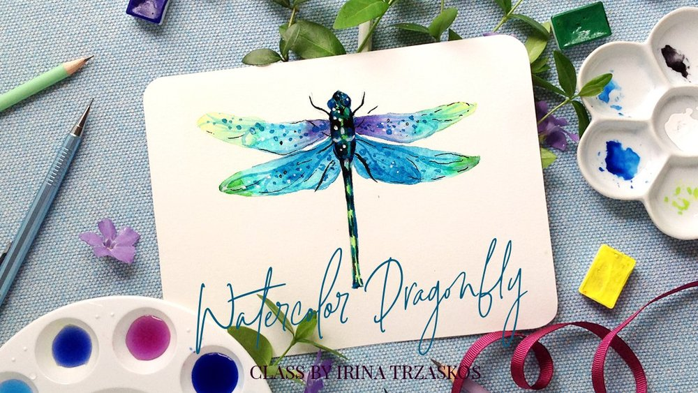 Paint a simple watercolor dragonfly with Irina
