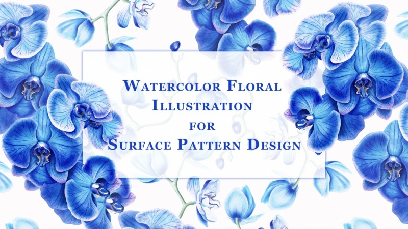 Illustrate detailed botanical florals for surface patterns with Katya