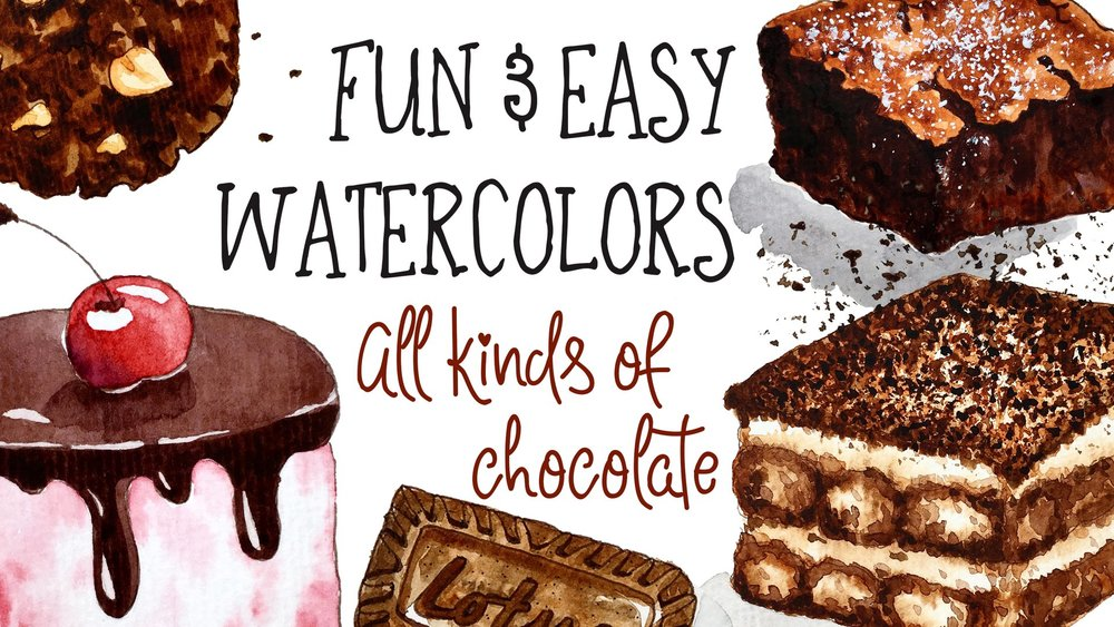 WATERCOLORS:  From donuts to tiramisu,  Fun and Easy Watercolors: All Kinds of Chocolate  puts a delicious spin on standard watercolor techniques.