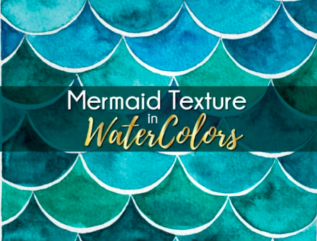 Learn to create a mermaid texture using watercolor with  Melina .