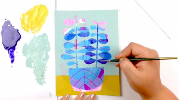 Anika  will show you how to use mixed media layering techniques to illustrate potted plants.