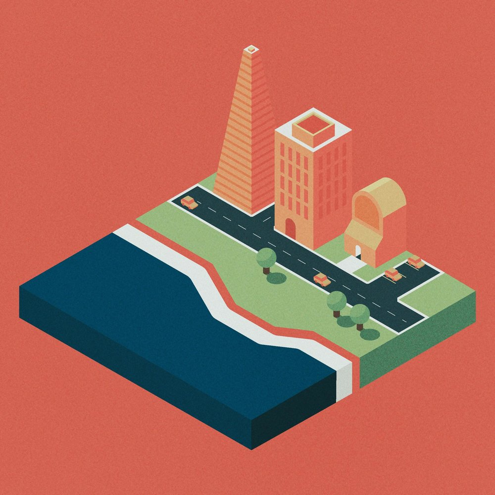 Image by Skillshare student Adriana P., for a class on  Isometric Illustration  with DKNG Studios.