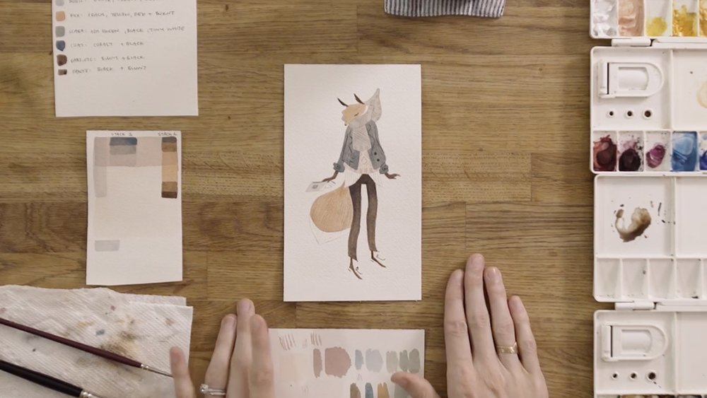 Still from Vanessa Gilling's  Gouache Illustration: Paint a Colorful Character