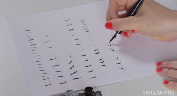 Practicing simple strokes with your nib pen can help you prepare to write beautiful letters and words in calligraphy.