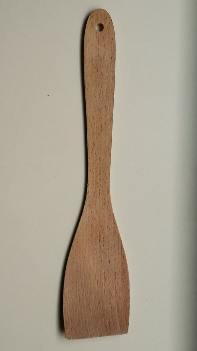 SPATULA   PROS:   - Easy to clean  - Has a hole for hanging  - Slight indentation on paddle   - Does not scratch pots  - Multi-use.   CONS:    -  Stains over time  - End of spatula becomes soft after use.  - Grip is too flat