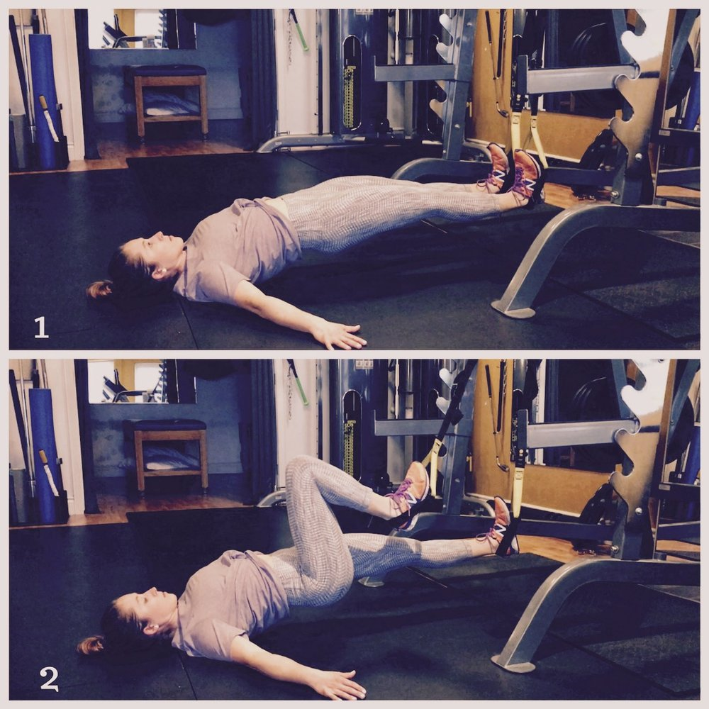 TRX Single Leg Hamstring Curls:  Same cues as regular hamstring curls, but this time you alternate bringing in your legs.