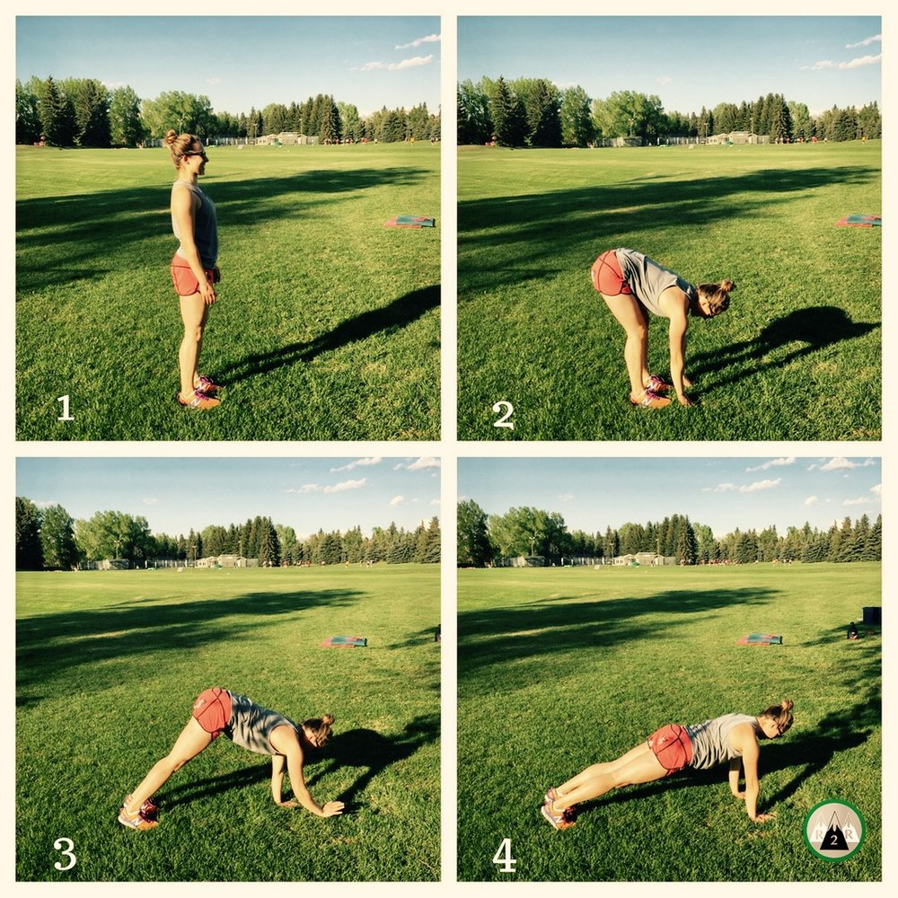 Inchworms:  Warming up your shoulders, core, hamstrings and calves. Keep your heels down as much as you can to get a good calf stretch. Maintain a neutral spine. Once you walk out to a high plank, then take small steps walking your feet up to your hands. 4-5 reps.