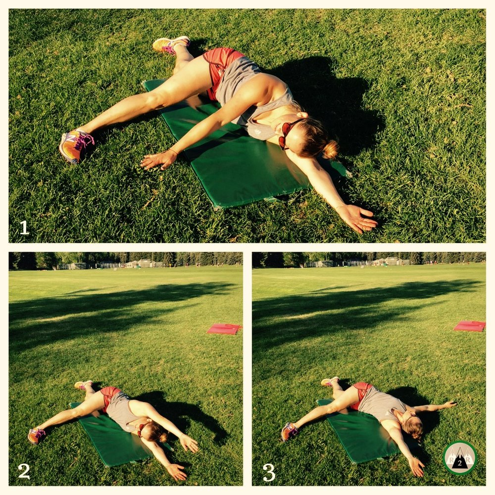 Side lying windmills-  Targets your chest, shoulders, and spine. Start by laying on your side with your top leg kicked out in front of you. Then with your top arm make big circles counter-clockwise trying to reach your shoulder back. Come back to the starting position with your shoulders stacked. 8-10 reps/side.
