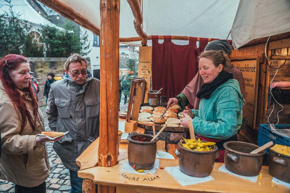 Food for sale at Leuchtenberg's Christmas Market