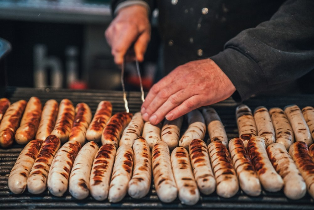 Thuringian sausages being grilled