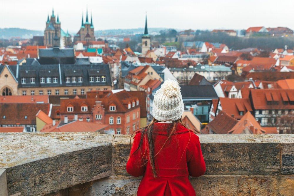 Jane overlooking Erfurt from Ägidienkirche