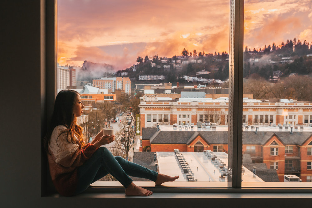 Sunset from our room // Checking In: The Radisson Red in Downtown Portland, Oregon #readysetjetset #pdx #portland #blogpost #travelguide
