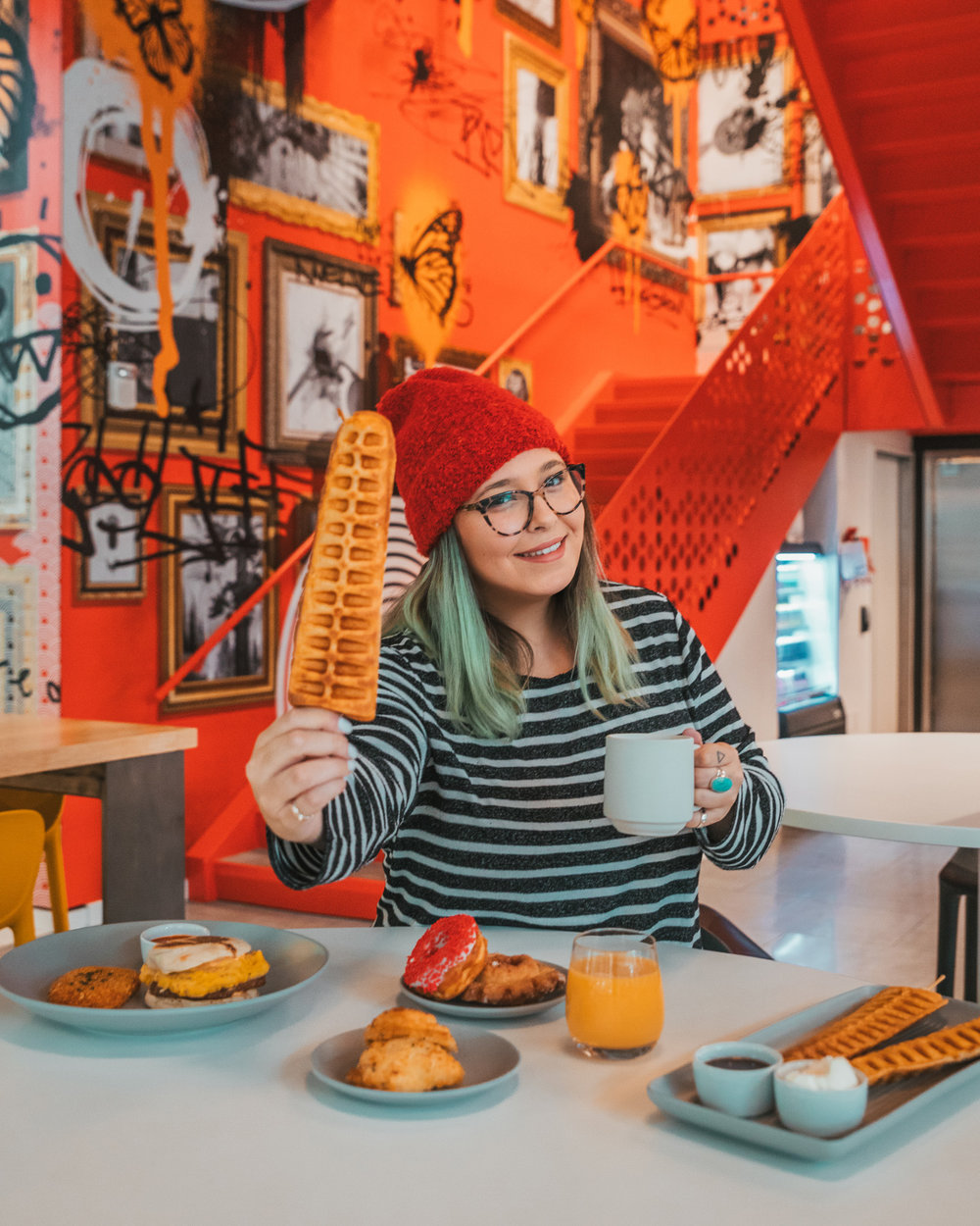 Radisson RED Restaurant with waffles on a stick // The Most Instagrammable Spots in Portland, Oregon // #readysetjetset #portland #oregon #pdx #pnw #blogpost #photoguide