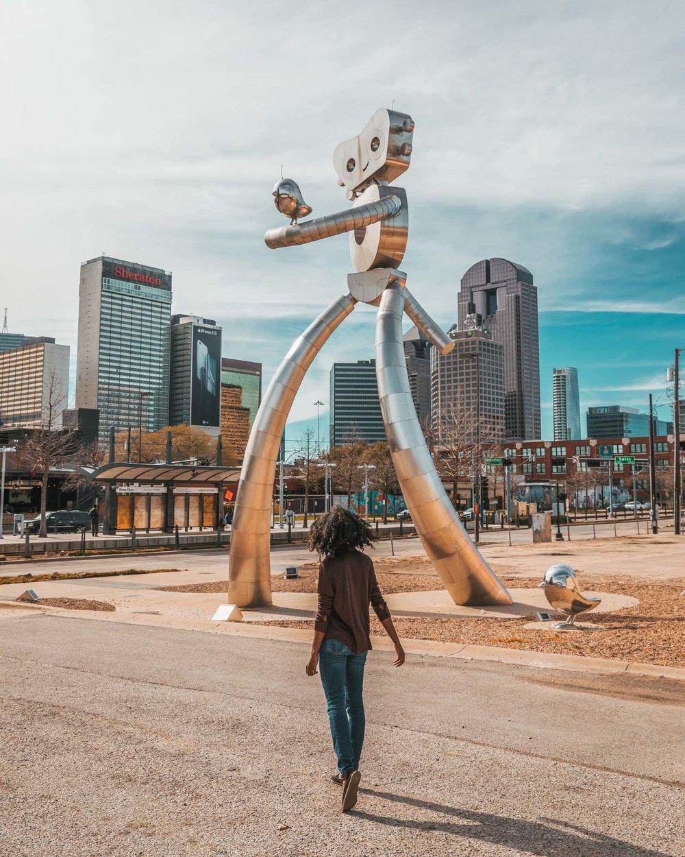 Traveling Man sculpture in Deep Ellum, Dallas, Texas