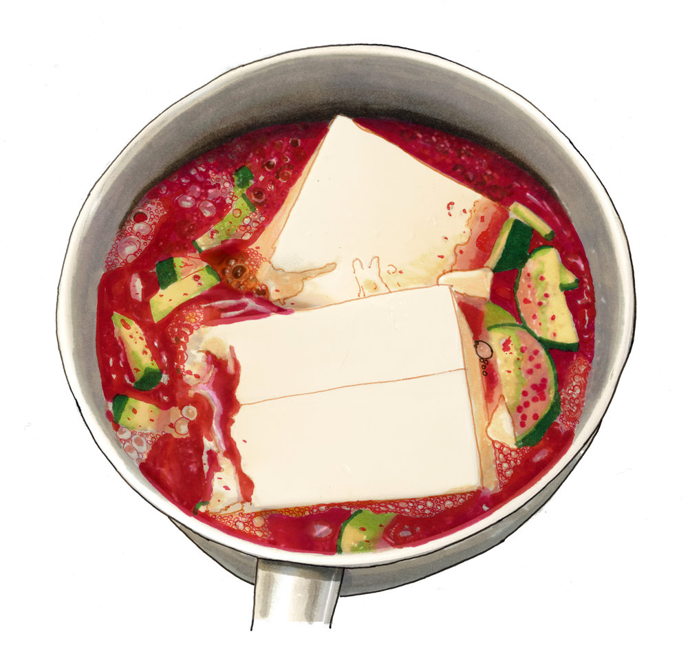 This is a double batch of Shin's sundubu, a spicy, delicious and easy-to-make soft tofu stew.