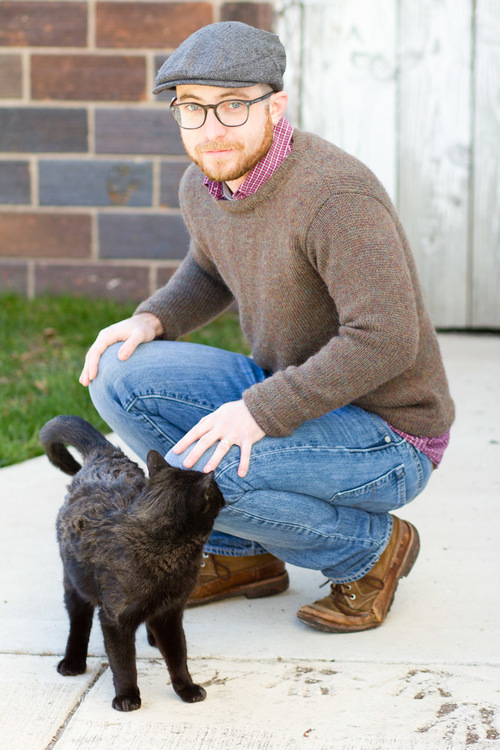 the Abram sweater, knit in The Fibre Company's Knightsbridge yarn, pictured with Dr. Wiggles