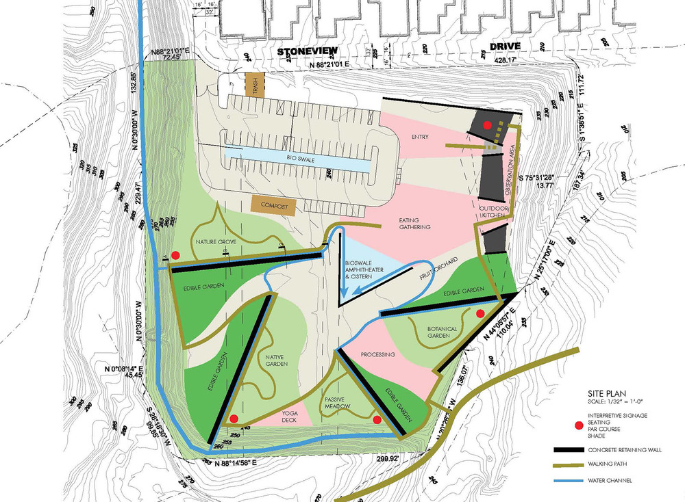 The site plan is thus reflects a series of moraines retained by walls which redirect the water flow while also structuring a cyclical narrative experience which educates the public about this food cycle.