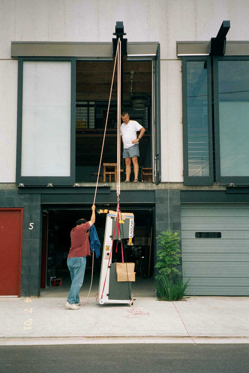 The loading door and crane in action.