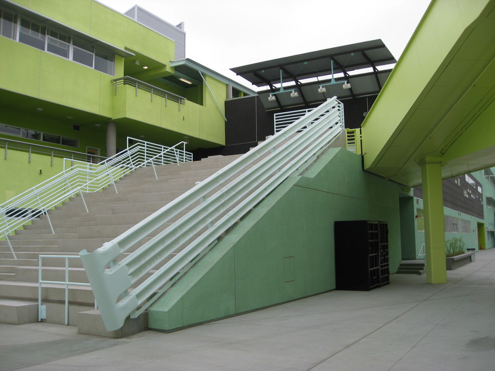 View to the Library from the central courtyard. The steps to the Library are designed to allow for student gathering and seating.
