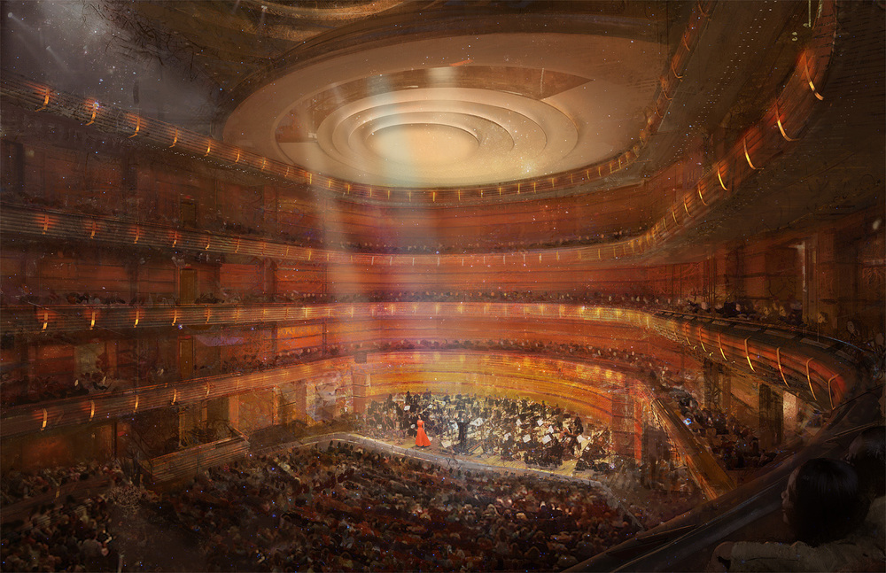 An interior view of the Music Hall, the hall in the Center devoted to classical orchestral music and seating 1,500 guests.