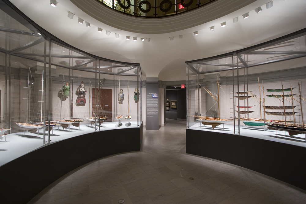 Casework designed for the exhibition of the Model Ship collection in the Museum Rotunda.