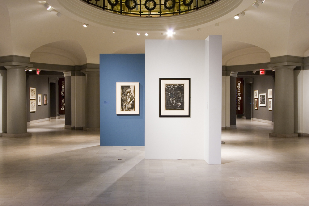 Exhibition of Picassos in the Lower Rotunda with views to Torf and Trustman corridors