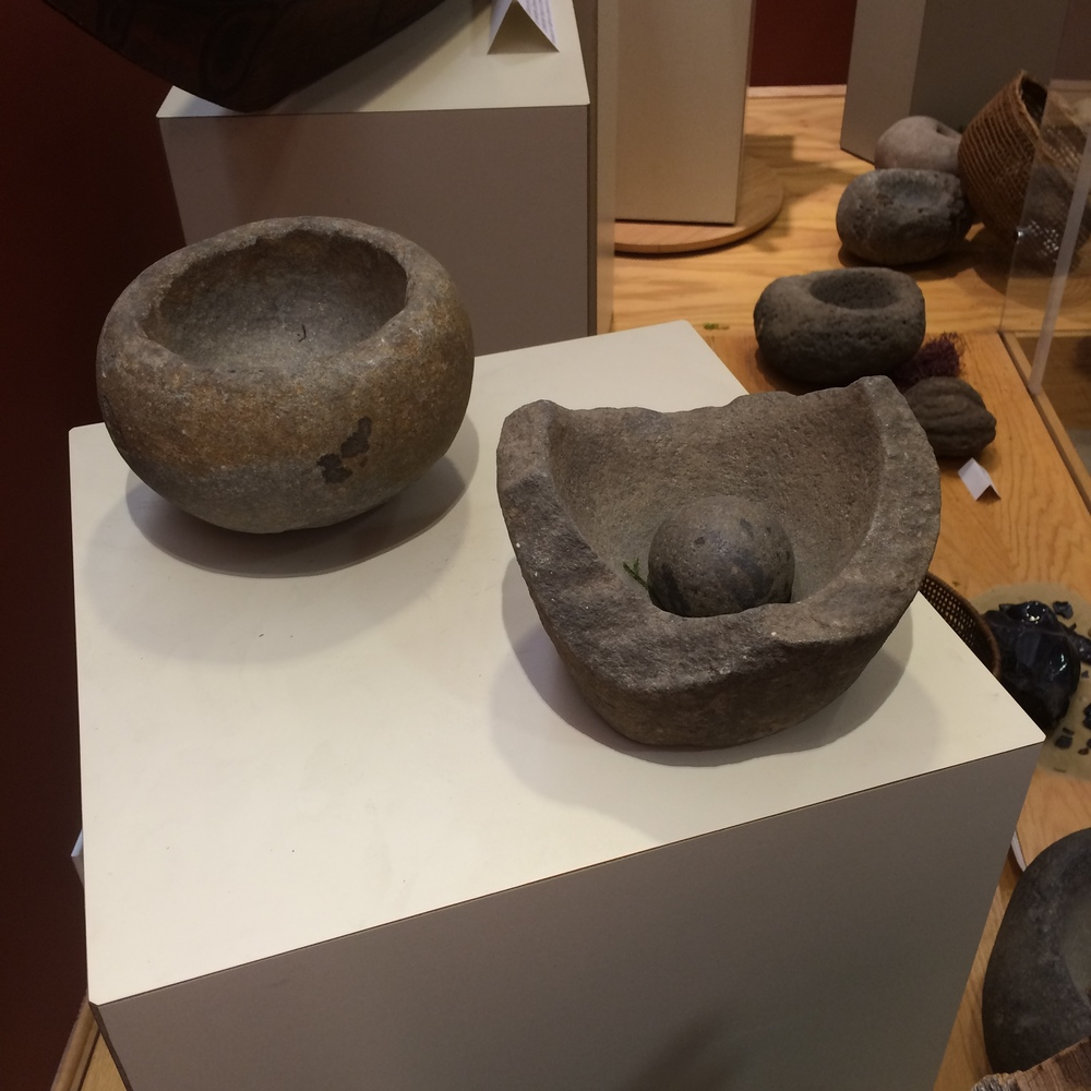 Morter and pestles were common tools used by native peoples. They were used to grind herbs, grains, and other cooking/healing items.