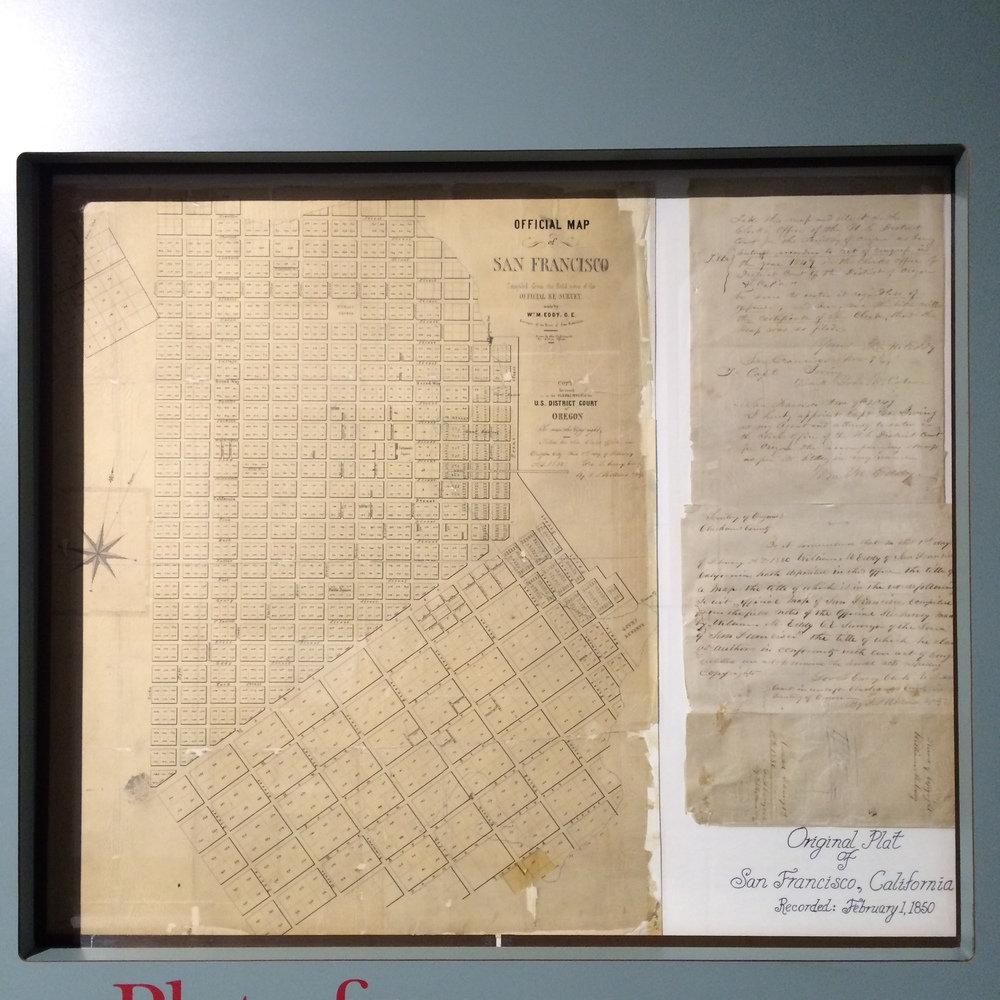 Filed in Oregon City in 1850, we have the   last surviving copy of the original Plat Map of San Francisco.