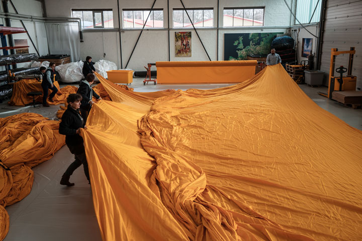 At geo – die Luftwerker, 75,000 square meters of yellow fabric are sewn into panels, Lübeck, Germany, February 2016