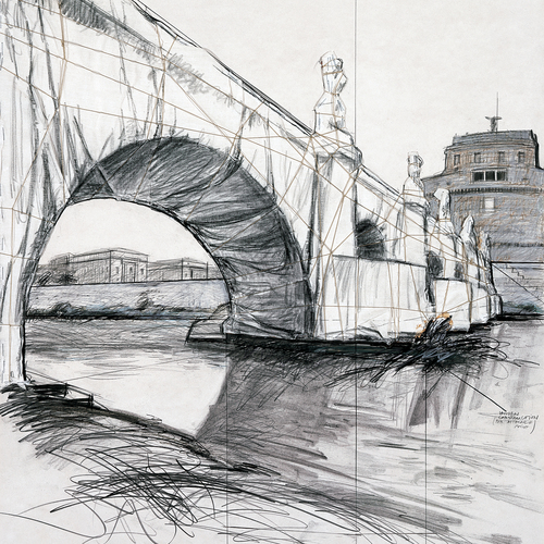 Ponte S. Angelo Wrapped (Project for Rome), Drawing 1969 (Detail)