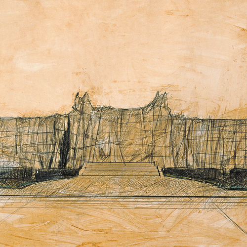Galleria Nazionale d'Arte Moderna Wrapped (Project for Rome), Drawing 1967 (Detail)