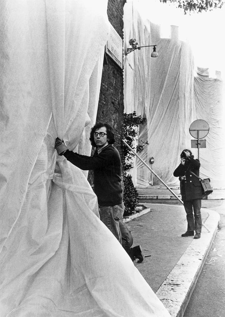Christo during the construction of The Wall - Wrapped Roman Wall