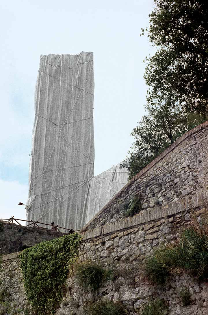 Wrapped Medieval Tower, Spoleto, Italy, 1968
