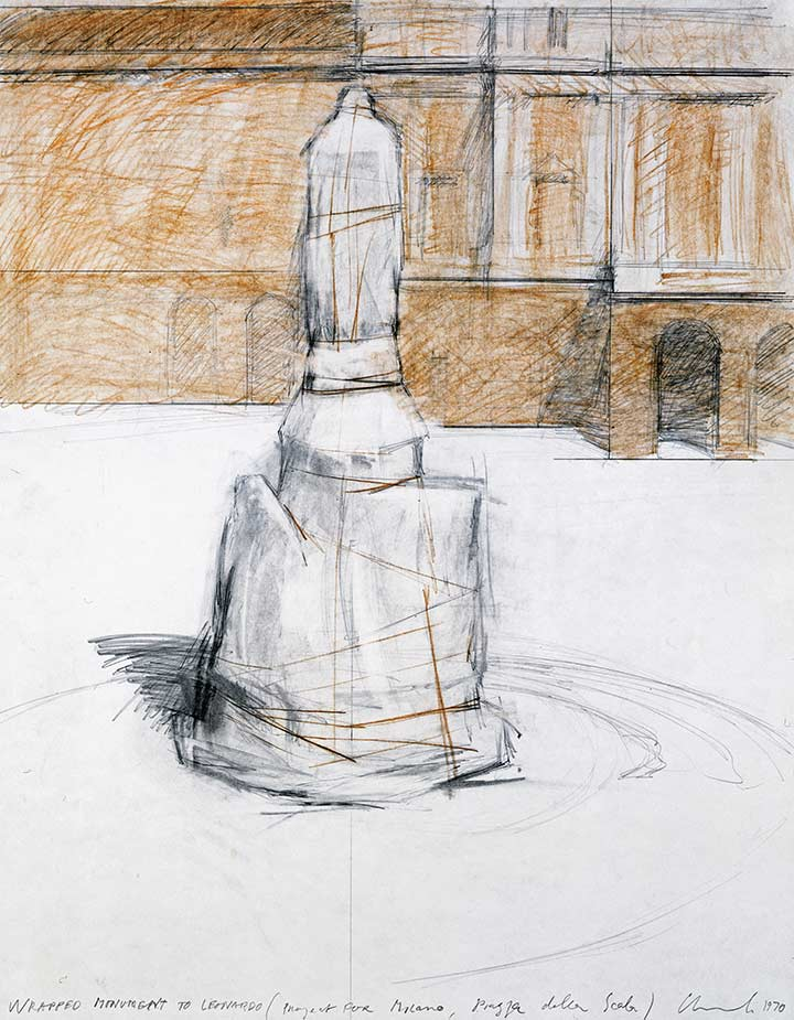 Wrapped Monument to Leonardo (Project for Milano, Piazza della Scala)