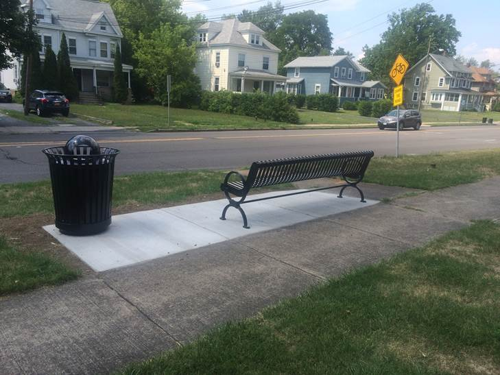Bench and Trash Can