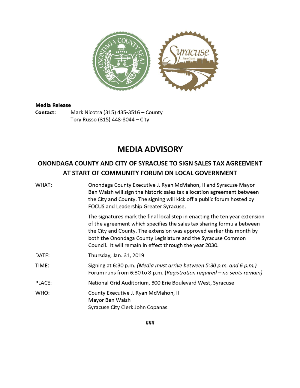 2019 01 31 MEDIA ADVISORY Onondaga County and City of Syracuse Sign Sales Tax Agreement.png