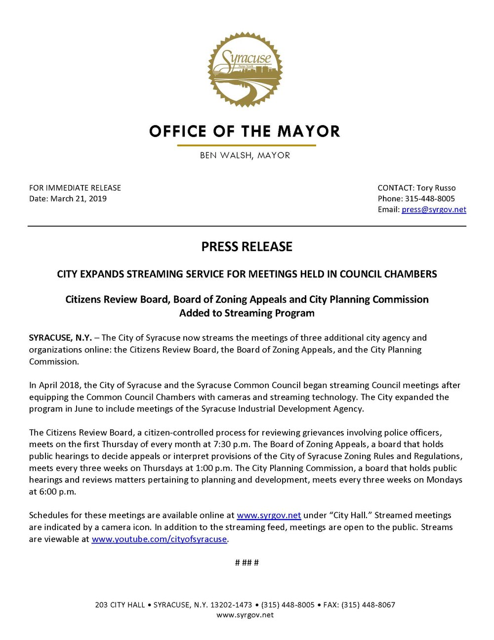 2019 03 21 PRESS RELEASE City Expands Streaming Service for Meetings Held in Council Chambers.jpg
