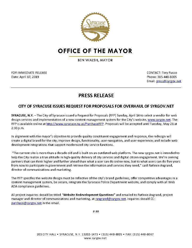 2019 04 17 PRESS RELEASE City of Syracuse Issues RFP for Overhaul of Syrgov.net.jpg