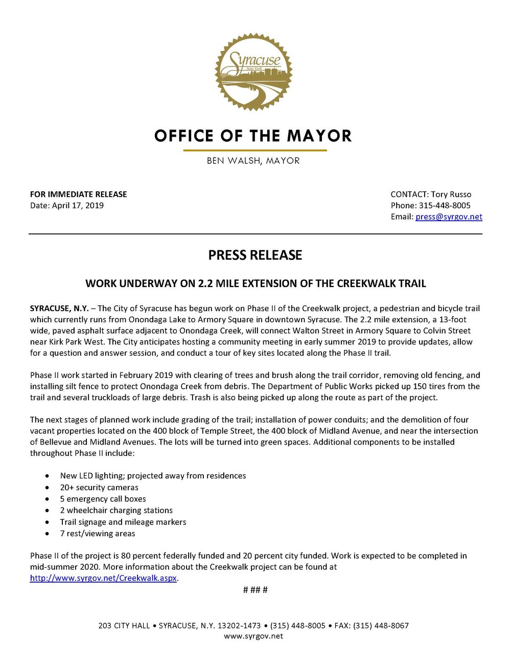2019 04 17 PRESS RELEASE Work Underway on 2.2 Mile Extension of the Cree....jpg