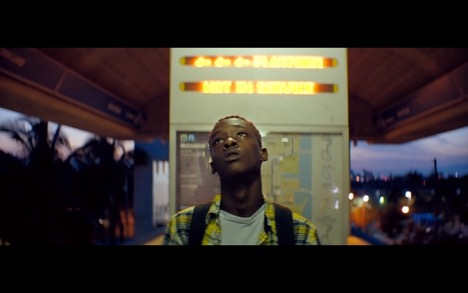 Ashton Sanders as a teenage Chiron in  Moonlight