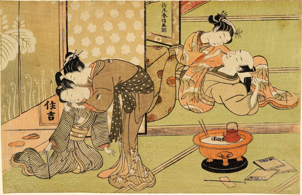 Suzuki Harunobu (1725-1770),  Two Coupes in a Brothel , 1769-1770. Color wookblock print. Royal Ontario Museum, 962.18.121, Sir Edmund Walker Collection. Courtesy of the Royal Ontario Museum, ©ROM