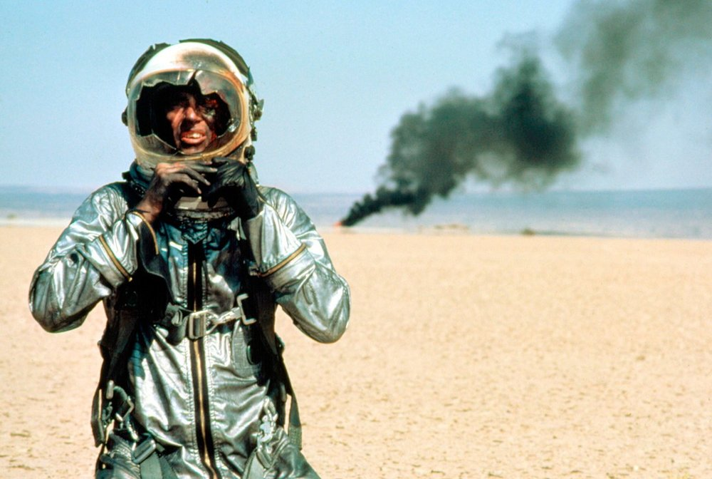 Shepard as Chuck Yeager in  The Right Stuff  (dir. Philip Kaufman, Warner Bros. 1983)